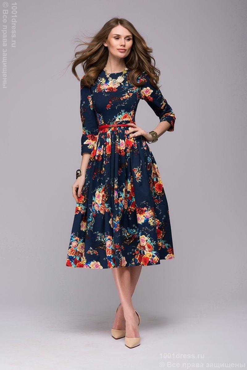 Купить Синее платье миди с цветочным принтом в магазине женской одежды в Воронеже