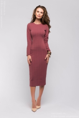Бордовое теплое платье из трикотажа купить в Воронеже
