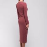 Бордовое теплое платье из трикотажа DM00696BO-3