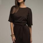 Платье шоколадного цвета с рукавом «летучая мышь» DM00211BR-2