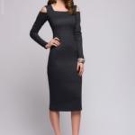 Серое трикотажное платье с вырезами на плечах DM00685GY-1