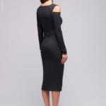 Серое трикотажное платье с вырезами на плечах DM00685GY-3