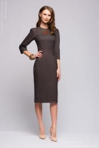 Серое платье длины миди с защипами на юбке купить в Воронеже