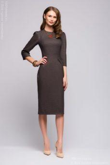f101a906752 Прямое платье миди темно-кофейного цвета с разрезами и рукавами 3 4 ...