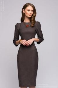 Заказать серое платье с защипами на юбке с доставкой по Воронежу