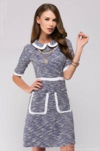 Короткое синее платье с белой отделкой заказать в Воронеже