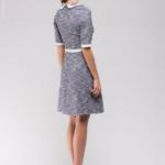 Синее платье с белой отделкой и накладными карманами DM00675BL-3