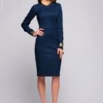 Темно-синее платье с длинными рукавами AK00047DB-1
