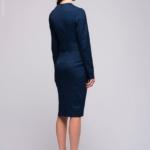 Темно-синее платье с длинными рукавами AK00047DB-3