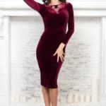 Бархатное платье винного цвета с вырезом на спине AR00605WN-1