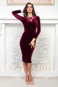 Бархатное платье винного цвета с вырезом на спине купить в Воронеже
