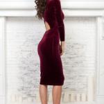 Бархатное платье винного цвета с вырезом на спине AR00605WN-2