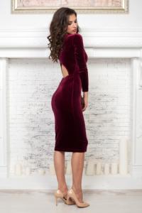 Бархатное платье винного цвета купить в интернет-магазине в Воронеже