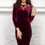 Бархатное платье винного цвета с вырезом на спине AR00605WN-3