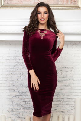 Заказать бархатное платье винного цвета с бесплатной доставкой по Воронежу