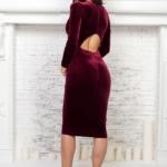 Бархатное платье винного цвета с вырезом на спине AR00605WN-5