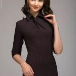 Бордовое платье-футляр с имитацией галстука dm00455bo-5