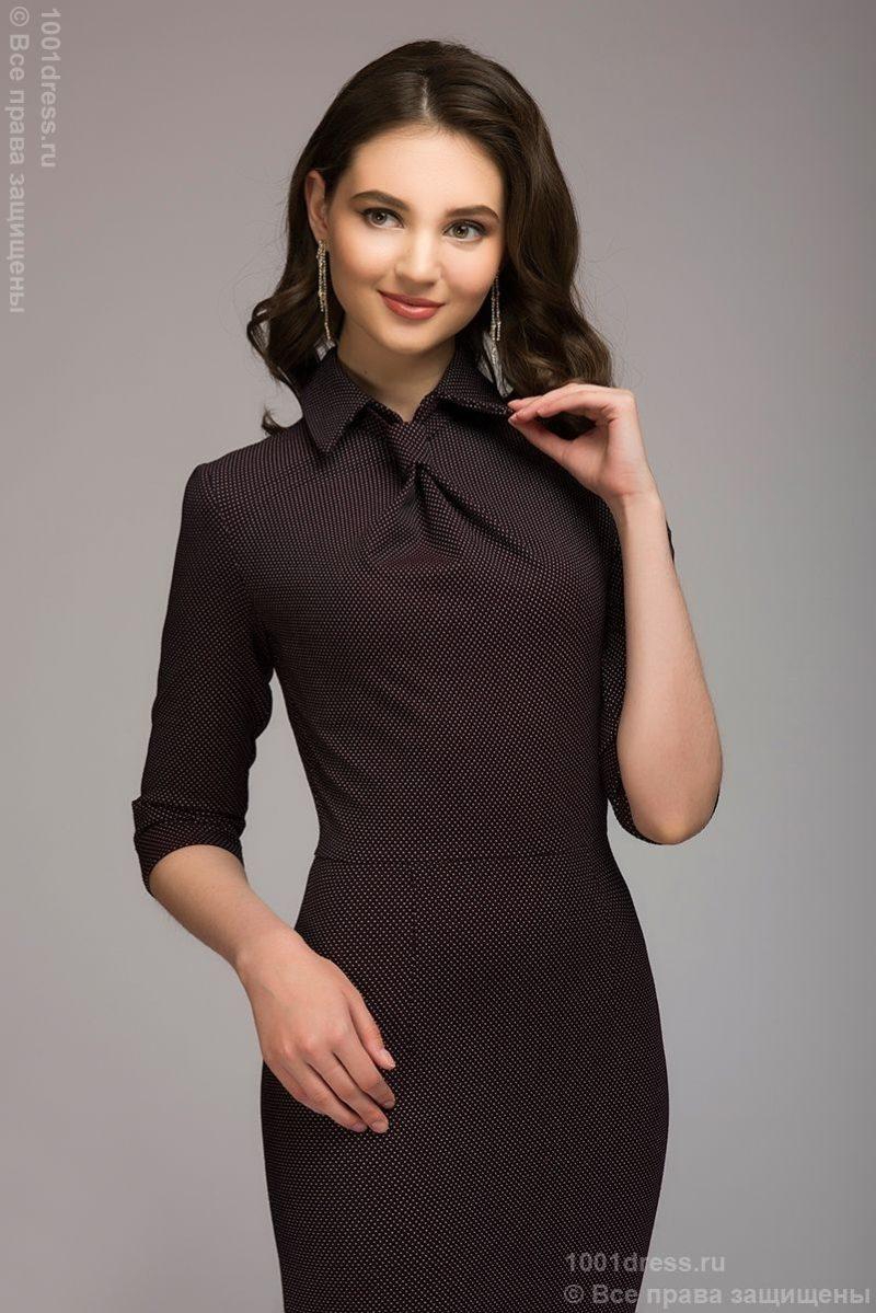 Бордовое платье-футляр с имитацией галстука в Воронеже