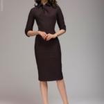 Бордовое платье-футляр с имитацией галстука dm00455bo-6