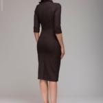 Бордовое платье-футляр с имитацией галстука dm00455bo-7