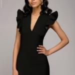 Черное платье с воланами на плечах dm00016bk-5