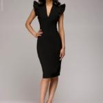 Черное платье с воланами на плечах dm00016bk-6