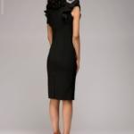 Черное платье с воланами на плечах dm00016bk-7