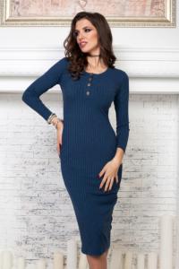 Купить синее платье лапша длины миди в магазине женской одежды в Воронеже