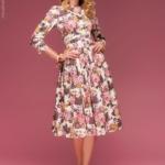 Ванильное платье миди с цветочным принтом dm00219va-1