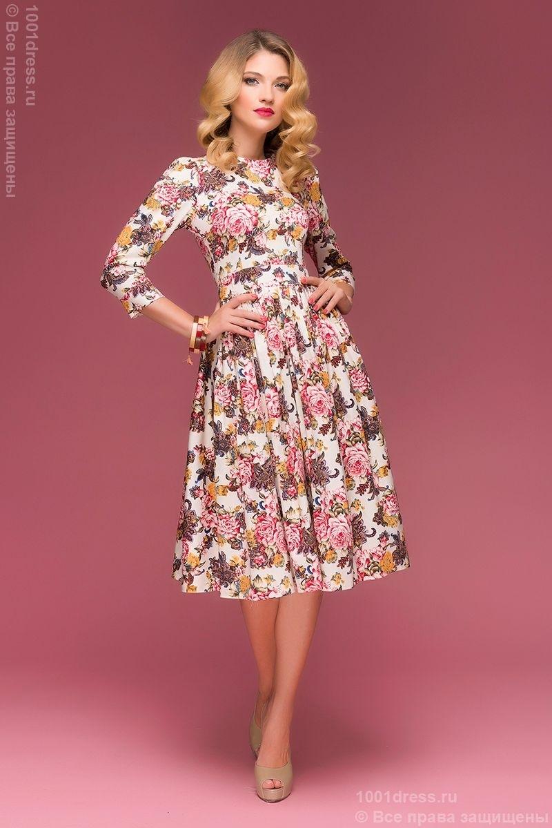 36828ccbb44 Ванильное платье миди с цветочным принтом купить в Воронеже