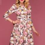 Ванильное платье миди с цветочным принтом dm00219va-2