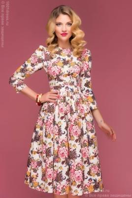 Купить ванильное платье миди с цветочным принтом в интернет-магазине в Воронеже