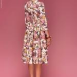 Ванильное платье миди с цветочным принтом dm00219va-3