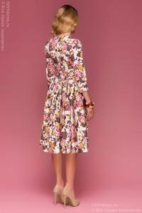 Заказать ванильное платье миди с цветочным принтом с бесплатной доставкой по Воронежу