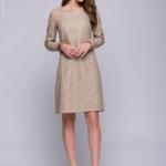 Бежевое платье мини с шоколадным принтом DM00595BG-2