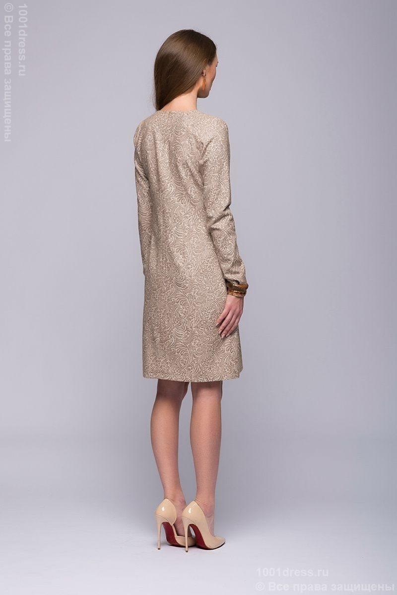 Бежевое платье мини с шоколадным принтом DM00595BG-3