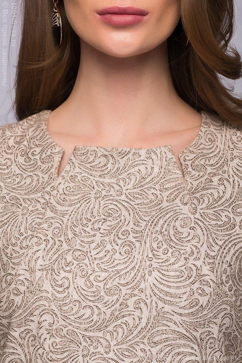 Бежевое платье мини с шоколадным принтом DM00595BG-4