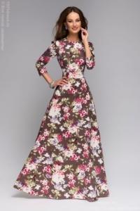 Длинное платье шоколадного цвета с цветочным принтом купить в Воронеже