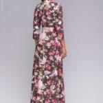 Длинное платье шоколадного цвета с цветочным принтом dm00206fc-3