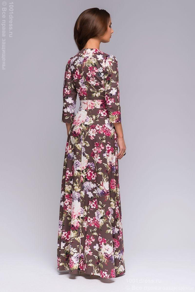 Заказать длинное платье шоколадного цвета с цветочным принтом с бесплатной доставкой по Воронежу
