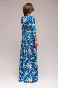 Заказать длинное платье синего цвета с цветочным принтом с бесплатной доставкой по Воронежу