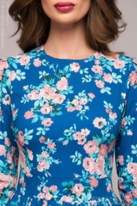 Купить длинное платье синего цвета с цветочным принтом в магазине женской одежды в Воронеже