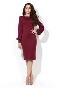 Купить платье-футляр бордового цвета с вырезом на спине в интернет-магазине