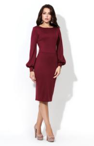 Заказать платье-футляр бордового цвета с бесплатной доставкой