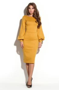 Платье-футляр горчичного цвета с вырезом на спине купить в Воронеже
