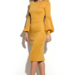 Платье-футляр горчичного цвета с вырезом на спине ds00215ms-2