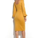 Платье-футляр горчичного цвета с вырезом на спине ds00215ms-3