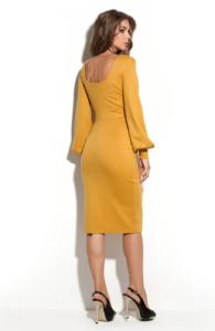 Заказать платье-футляр горчичного цвета с вырезом на спине с бесплатной доставкой по Воронежу