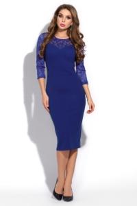 Синее коктейльное платье длины миди купить в Воронеже