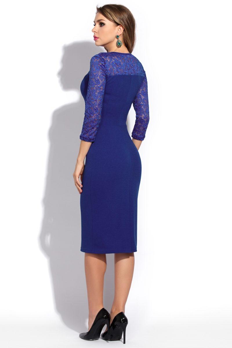 Купить синее коктельное платье длины миди в интернет-магазине